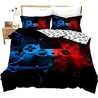Juego de ropa de cama reversible para niños de 135 x 200 cm, diseño de jugador de juegos, color rojo y azul
