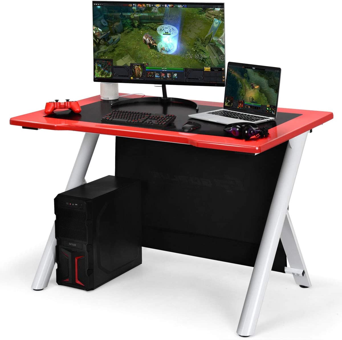 Tangkula Gaming Desk, Gaming Computer Desk, Gamers Computer Desk, Gaming Workstation, Computer Desk PC Desk 45 X29.5 Lx W