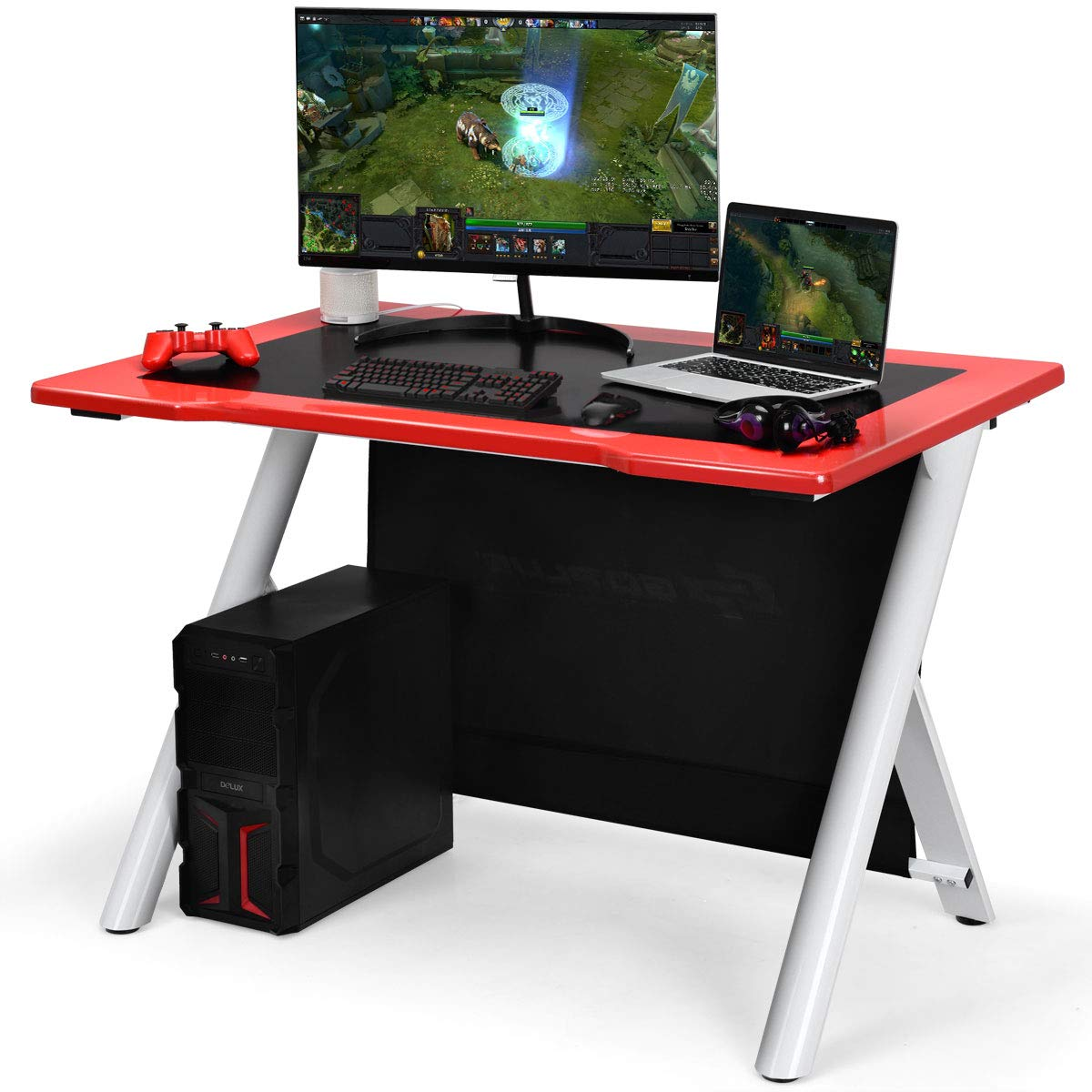 Tangkula Gaming Desk, Gaming Computer Desk, Gamers Computer Desk, Gaming Workstation, Computer Desk PC Desk 45 X29.5 Lx W