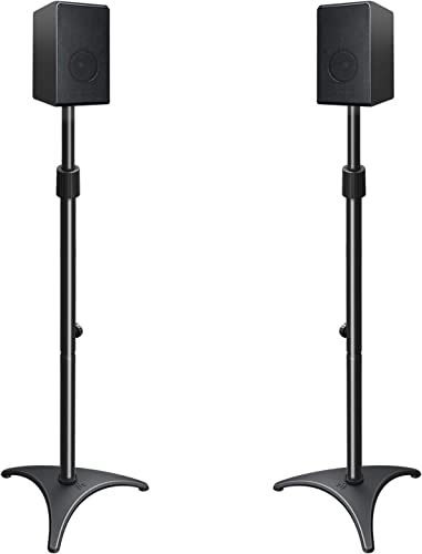 Mounting Dream Height Adjustable Speaker Stands Mounts, One Pair Floor Stands, Heavy Duty Base Extendable Tube, 11 lbs Capacity Per Stand, 35.5-48 Height Adjustment MD5401 Speakers Not Included