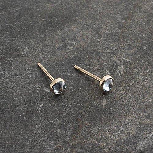 Gold Stud Earrings, Sky Blue Topaz Stone Studs, Gold Studs, Dainty Earrings, Minimalist Earrings, Stud Earrings, Handmade Tiny Earrings 3mm