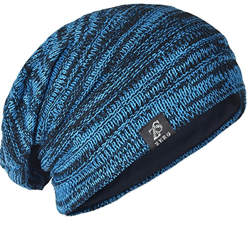 (FORBUSITE Men Beanie Slouchy Hat for Summer Winter Baggy Oversize B5001 Bright Blue)