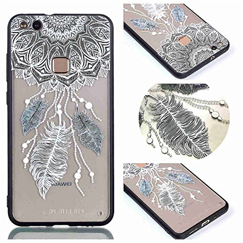 Huawei P10 Lite Case, Ngift [Three feathers] [2 in 1] [Scratch Resistant Anti-fall] fashion Soft TPU Shockproof Case Cover for Huawei P10 Lite