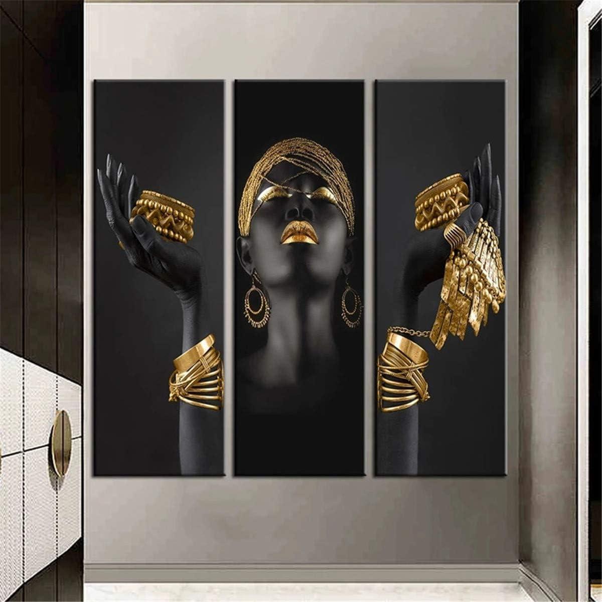 Ivpss personalizable mujer africana pintura arte de la pared carteles e impresiones gran mujer negra sosteniendo joyas de oro lienzo imagen decoración del hogar