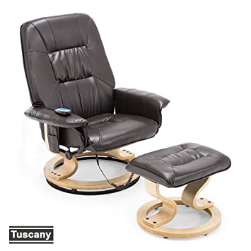 more4homes tuscany bonded leather swivel recliner massage chair w