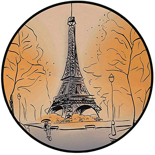 Printing Round Rug,Paris City Decor,Paris Eiffel Tower with Autumn Leaves in Artistic Sketching Effect Holiday Landmark Mat Non-Slip Soft Entrance Mat Door Floor Rug Area Rug For Chair Living Room,