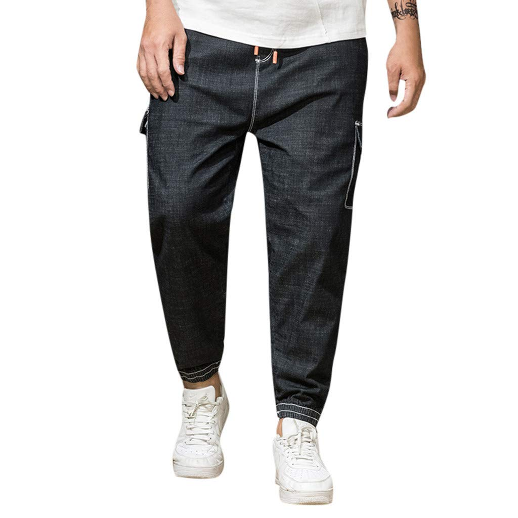 Leadmall Men's Loose Cargo Jeans | Men Plus Size Relaxed Fit Patchwork Pocket Denim Pants | Casual Loose Tapered Trouser