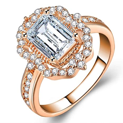 d8b00c19f5d Weiy Zircon Square Crystal Ring Fashionable Charming Elegant Exquisite  Diamond Rose Gold Wedding Band Bridal Engagement