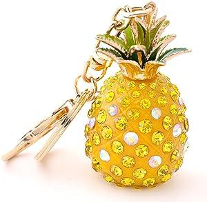 Yellow Pineapple Rhinestone Alloy Resin Women Car or Bag Keychain (Yellow Pineapple)