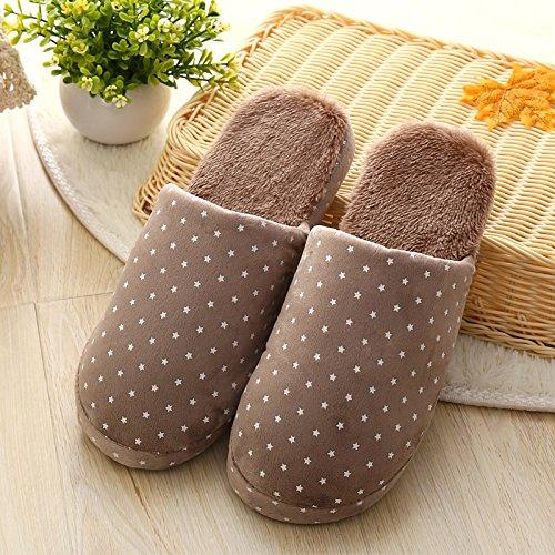 Y-Hui, el otoño y el invierno cálido zapatillas de algodón estrellas para los amantes de las mariposas en mobiliario doméstico suave piso inferior zapatas deslizantes,42/43 Código (para 4041),el café