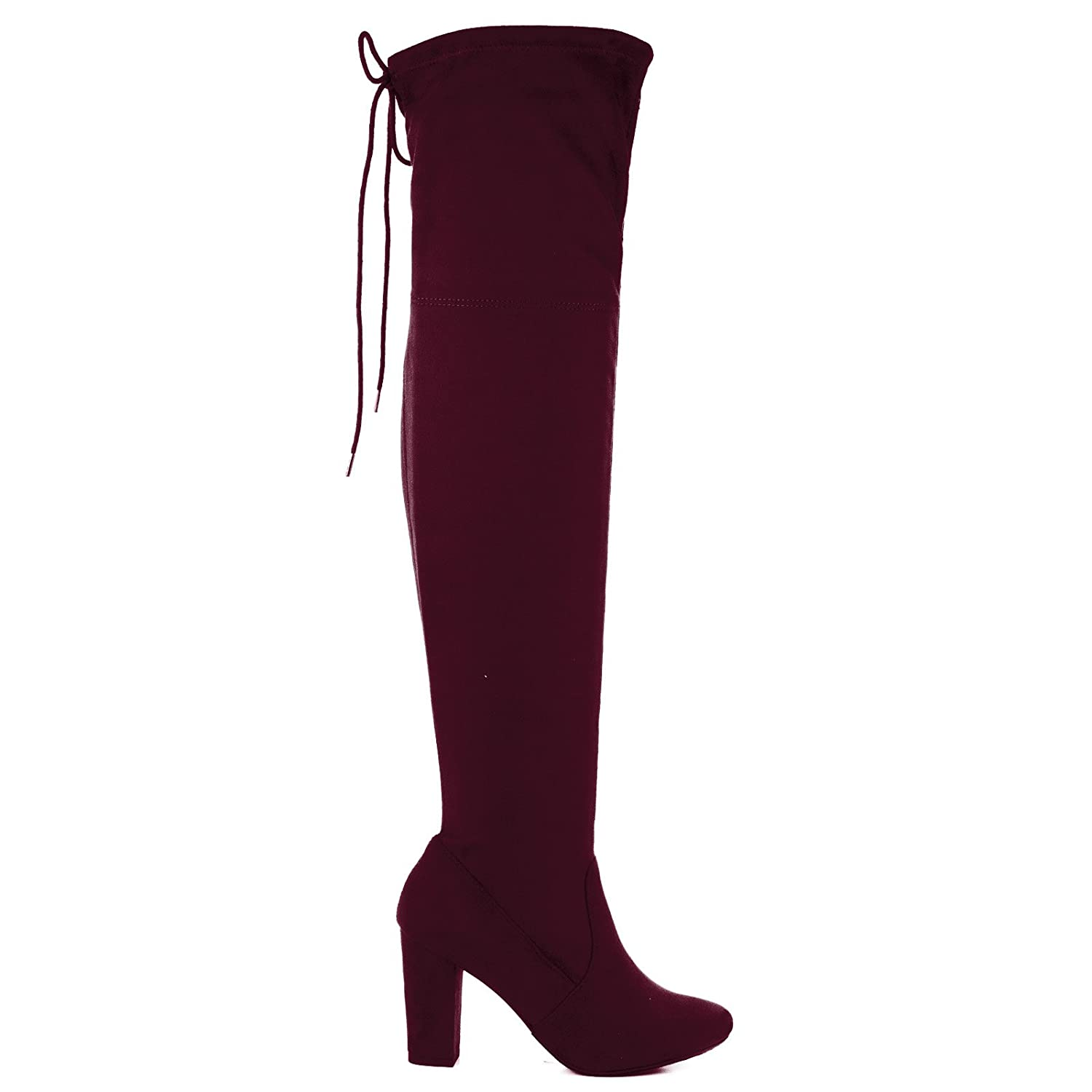 Snivy Vino OTK Over The Knee Thigh High Slouchy Boots w/ Back Lace Tie & Block Heel -7