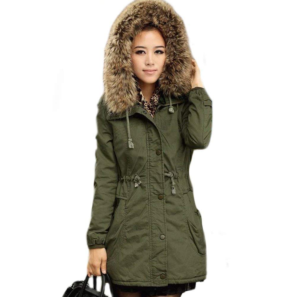 053928fac176 Rela Bota Womens Hooded Warm Winter Faux Fur Lined Coats Parkas Wool ...
