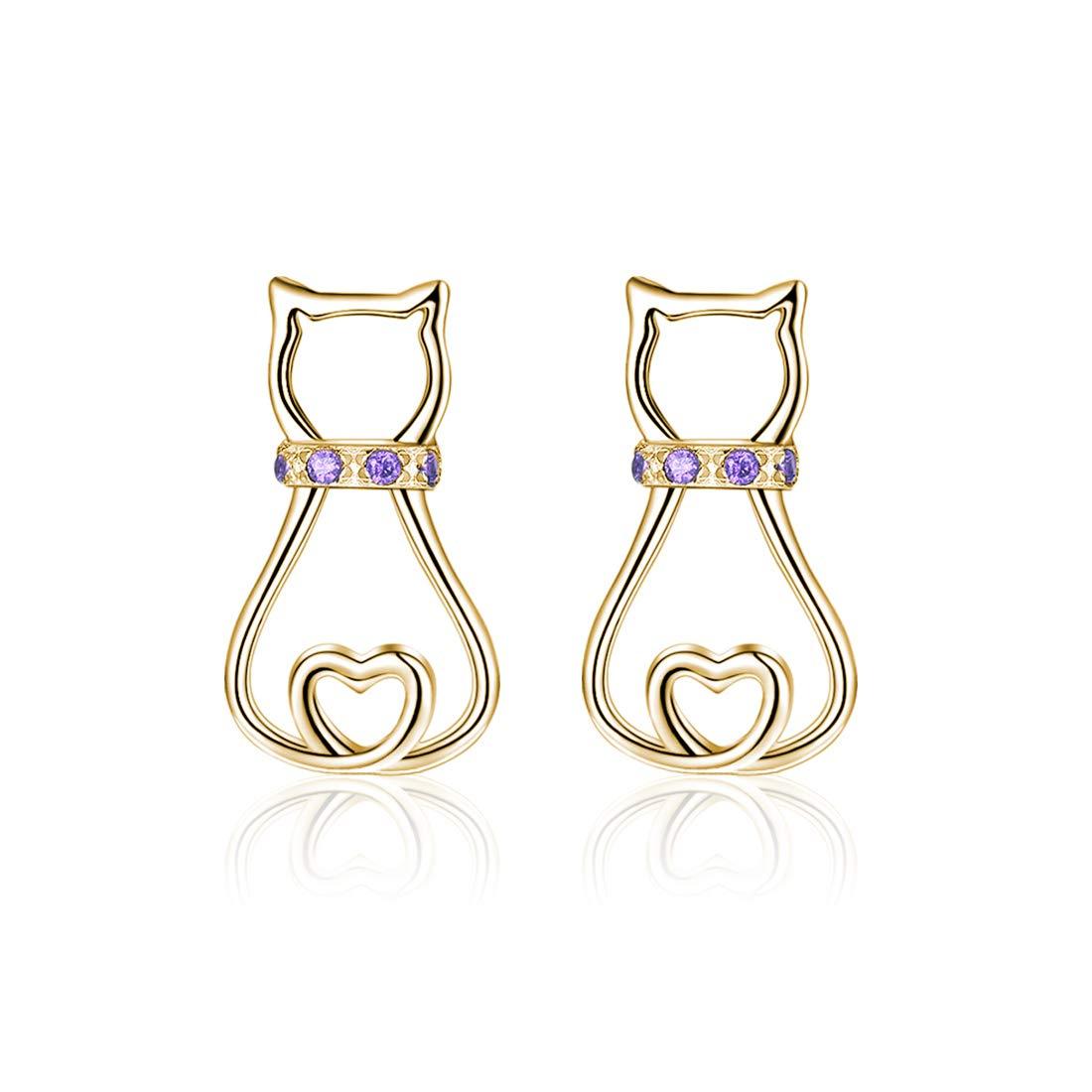 Cat Stud Earrings Jewelry 925 Sterling Silver Cute Mini Pet Cat Stud Earrings for Women Girls (Gold)