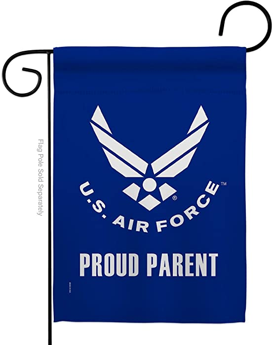 "USA Decoration Proud Air Parent Garden Flag Armed Forces USAF United State American Military Veteran Retire Official House Decoration Banner Small Yard Gift Double-Sided, 13""x 18.5"", Thick Fabric"