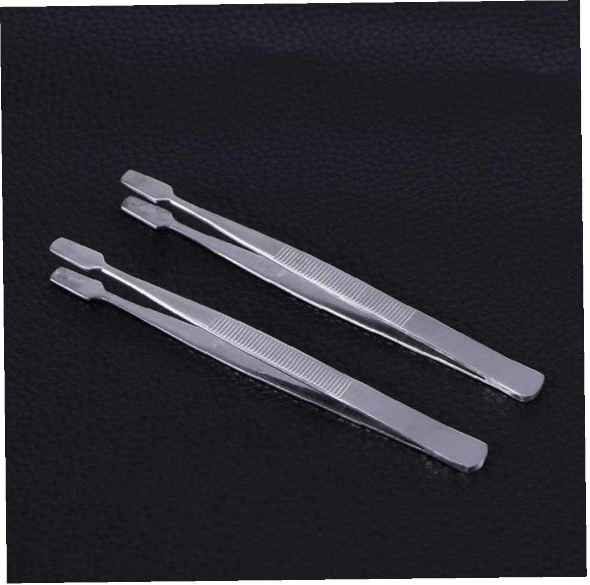 CULER 2Pcs Stamp Tweezers Flat Paddle End Style Anti-Slip Tweezers for Handling Stamps Stickers Stamps Collector Tools Silver