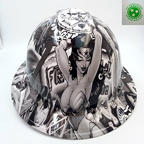 Wet Works Imaging Customized Pyramex Full BRIM SEXY WONDER WOMAN HARD HAT With Ratcheting -