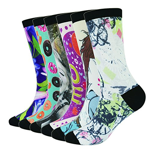 Enerwear 6P Pack Women's 3D Print Oder Control Cushion Seamless Dress Socks (US 9-12 / Shoe:5-9, Color 3) (Seamless Womens Socks)