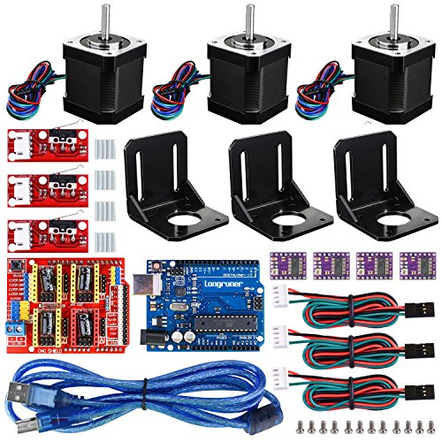 3D printer CNC Controller Kit For Arduino, Longruner GRBL CNC Shield+UNO R3 Board+RAMPS 1.4 Mechanical Switch Endstop+DRV8825 A4988 GRBL Stepper Motor Driver with heat sink+Nema 17 Stepper Motor LKB02
