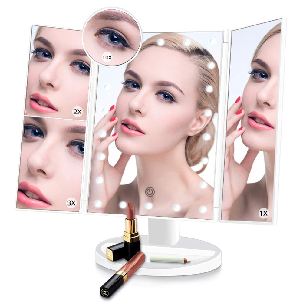 Makeup mirror,22 LED lights, Tri-fold Illuminated Vanity Mirror 1x/2x/3x/10x Magnification, Vanity Cosmetic Mirror with Touch Screen,and 180 Adjustable Stand for Table(White)
