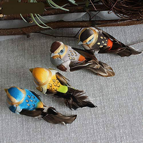 lwingflyer 4pcs Artificial Simulated Foam Birds with Claw Mini Love Feather Birds