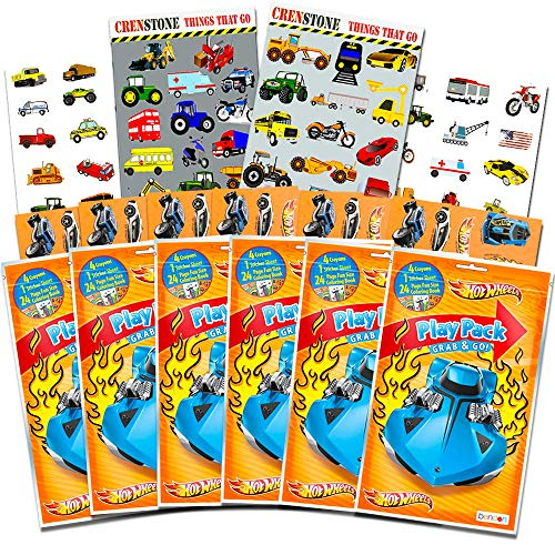 Hot Wheels Party Favors Pack ~ Bundle of 6 Hot Wheels Play Packs Filled with Stickers, Coloring Books, Crayons with Bonus Stickers (Hot Wheels Party Supplies)   -