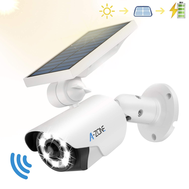 Solar Motion Sensor Light Outdoor - 800Lumens 8 LED Spotlight 5-Watt Solar Lights Outdoor IP66 Waterproof, Wireless Solar Flood Light for Porch Garden Patio Driveway Pathway,Aluminum(White) by A-ZONE