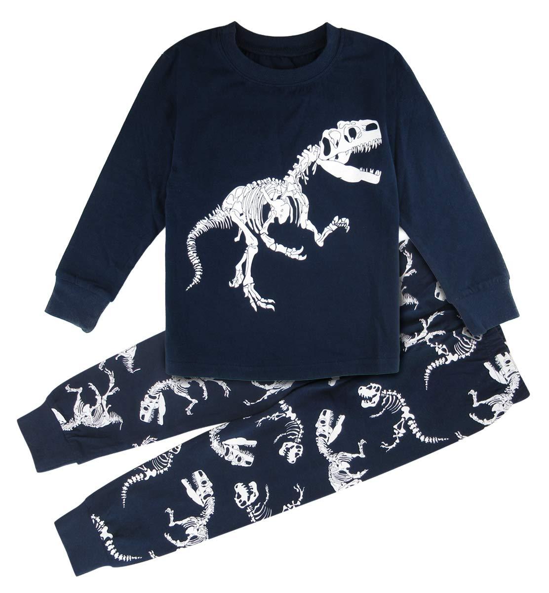 Mombebe Boys Dinosaur Pajamas Set Kids Nightwear Long Sleeves