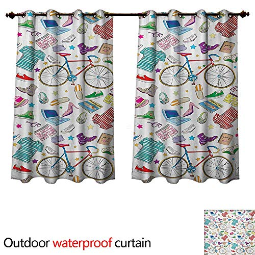 - WilliamsDecor Indie Outdoor Curtains for Patio Sheer Urban Hipster Accessories Pattern Colorful Doodle Clothes Shoes Computers Bicycles W63 x L63(160cm x 160cm)