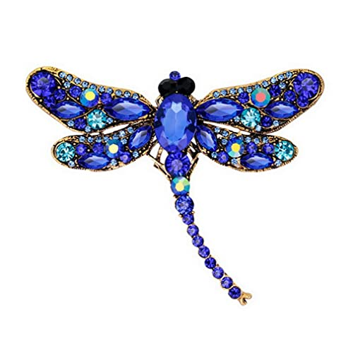 b1b2a6d2b YAZILIND Exquisite Dragonfly Inlaid Rhinestones Alloy Brooch Pin for Women  Girls Accessories(Blue)
