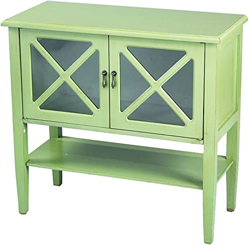 Heather Ann Creations Modern 2 Door Accent Console Cabinet with X Pane Glass Insert and Bottom Shelf Lime