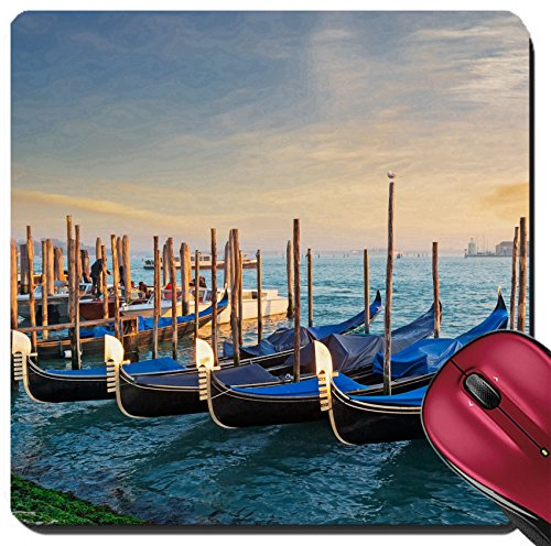 Liili Suqare Mousepad 8x8 Inch Mouse Pads/Mat gondolas in San Marco shore - Marc San Marcos