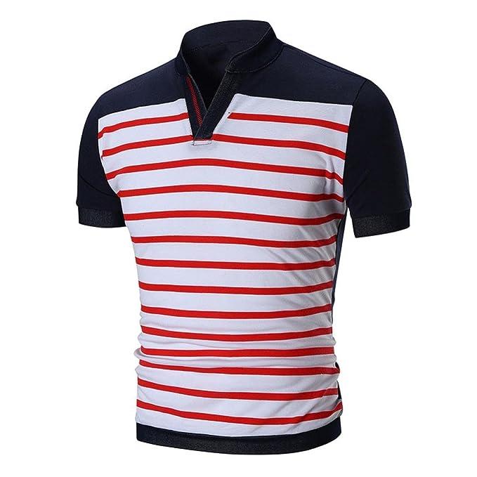 WINWINTOM Moda de Verano Camisetas, 2018 Hombre Camisetas y Polos, Hombres Verano Casual A Rayas O Cuello Pull-Over Manga Corta Camiseta Tops Blusa: ...