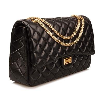 b0c7bd7ed3c Amazon.com: Ainifeel Women's Quilted Oversize Genuine Leather Shoulder  Handbag Hobo Bag Purse (X-Large, Black (Gold)): Shoes