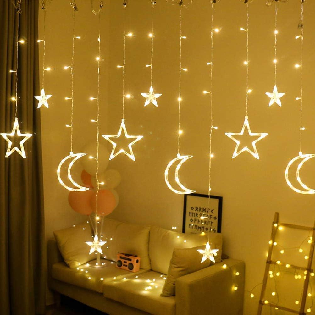Cortina de luz de Estrellas, LED Star Moon Cortina Luces Decoración de Boda Lámpara Home Garden Decoración de Cortina de Ventana de Navidad, 3.5m