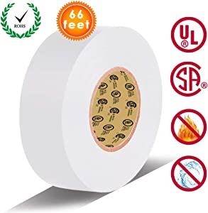 White Electrical Tape by LYLTECH, Pass UL/CSA Certification. Waterproof,Flame Retardant,Strong Rubber Based Adhesive, 600V with 14? to 176?. Size : 66 feet x 3/4 inch x 0.07 mil (White)