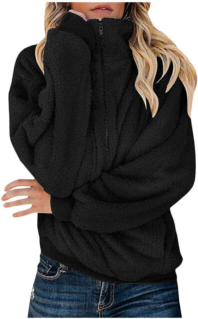 Womens Ladies Warm Soft Fleece Loose Baggy Hoodie Sweater Pullover Jumper Tops
