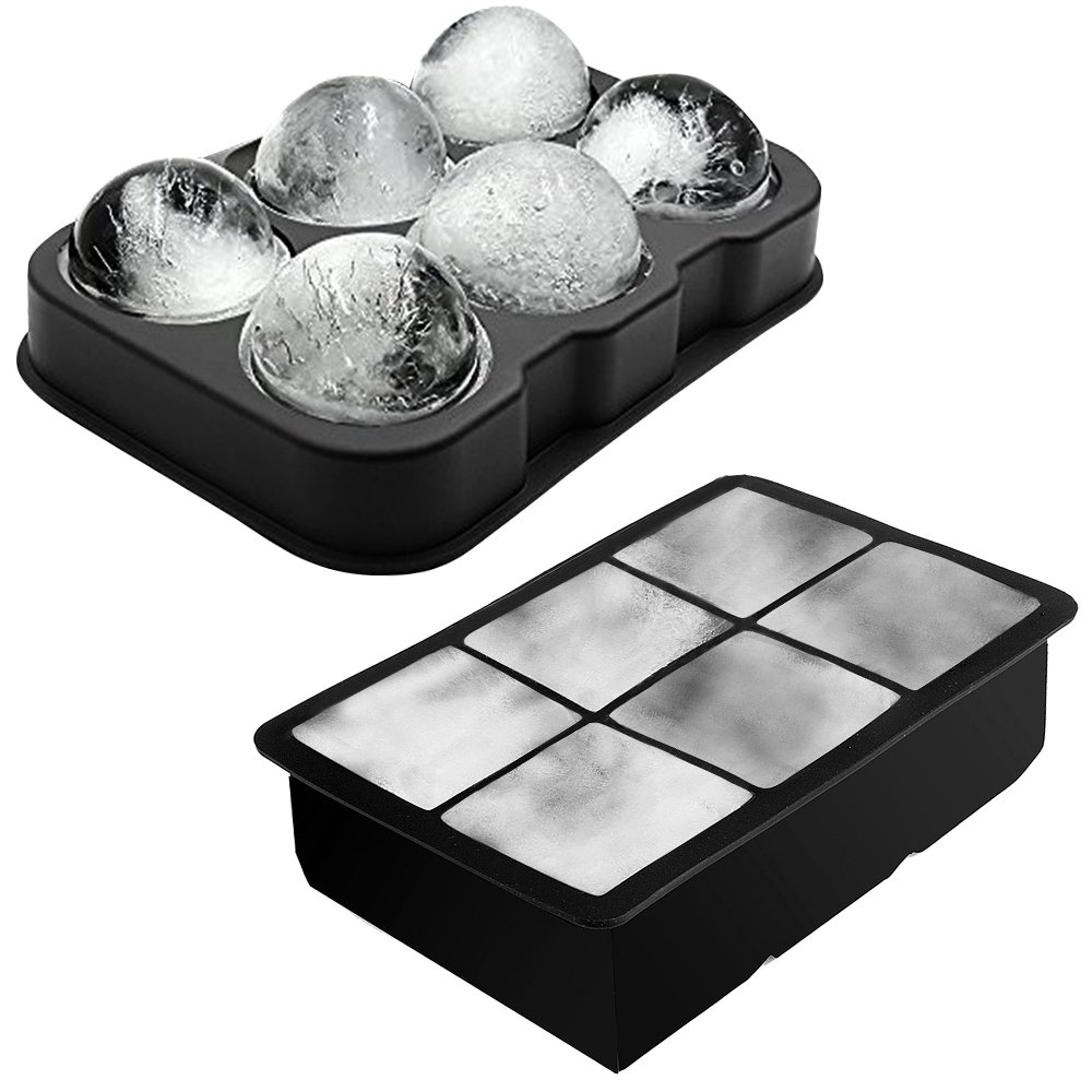 K-Home Ice Ball Mold and Large Ice Cube Tray for Whiskey and Beverages, 1.8 Inches Spheres and Squares, BPA Free Food Grade Silicone