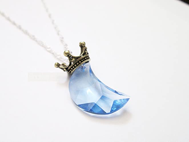 Amazon blue necklace moon pendant necklace cute crown blue necklace moon pendant necklace cute crown necklace blue moon lunar aloadofball Images