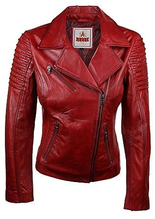 styles divers acheter maintenant bas prix Veste Perfecto Femme Cuir véritable Rouge Style Biker Coupe cintrée