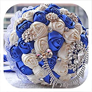mamamoo Gorgeous Wedding Bouquet Brooch Bridal Bouquet Ivory Artificial Rose Flower Bride Bouquets Wedding Accessories,Color 3 29