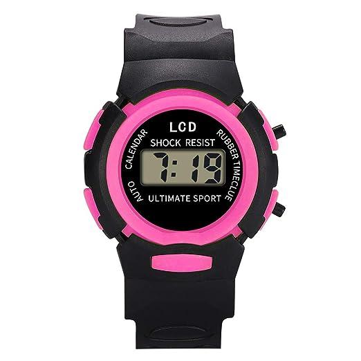 Reloj Infantil Analógico Digital Relojes Led Electronico Reloj De Pulsera Impermeable Kelry (Rosa roja)