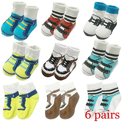 6 Pairs 0-10 month Baby Newborn Ankle Sock Toddler Crew Walkers Bootie Infant Socks (Mixed style 2) by Fly-Love (Image #1)