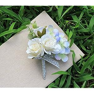Wedding Flower Artificial Rose Hydrangea Boutonniere Corsage For Groom Groomsmen Best Man, Pack of 2, White 92