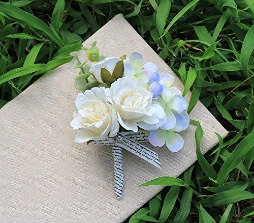 Wedding Flower Artificial Rose Hydrangea Boutonniere Corsage For Groom Groomsmen Best Man, Pack of 1, White