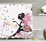 ROBIN GREEN Girls Shower Curtain, Pink Butterfly Girl with Floral Dress Flower Fairy Angel Wings Folklore Kids Print, Fabric Bathroom Decor Set with Hooks, 84 Inches Extra Long, Black Pink