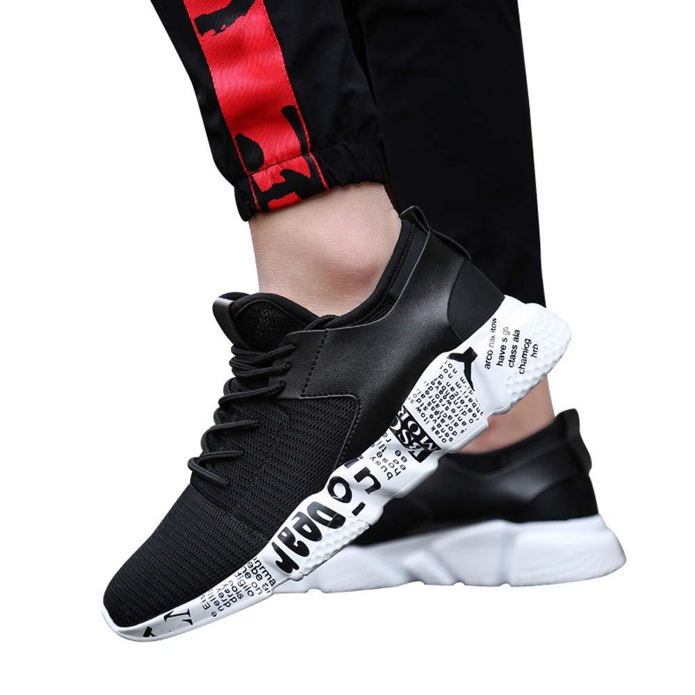 Women's & Men Sneakers Mesh Outdoor Sport Walking Running Shoes Breathable Lightweight Athletic (Black, US:7.5)