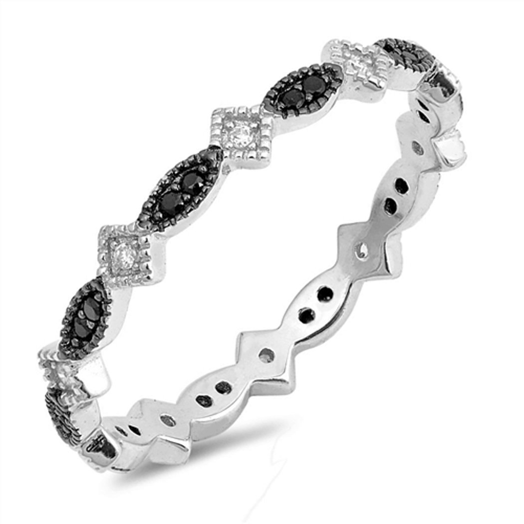 Sterling Silver Black CZ Marquis and Diamond-Shaped Eternity Ring (Size 4 - 10) - 7