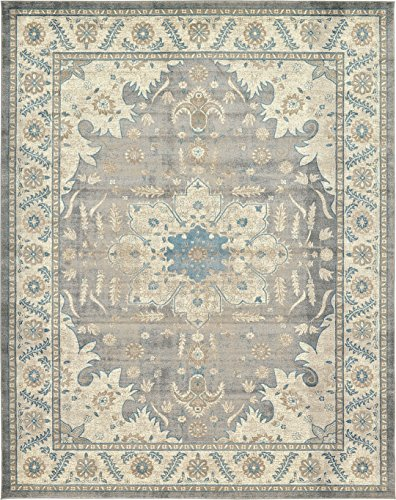 - Luxury Vintage Persian Design Heriz Rug Gray 10' x 13' St.George Collection Area Rugs