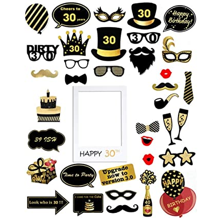 Kicpot 39pcs 30th Brithday Photo Booth Props and Creative Photo Frame Decorations 39pcs 30th Brithday Photo Booth Props and Creative Photo Frame ...