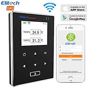 Elitech RCW-600 WiFi Medidor de Temperatura de Dobles Sensores, Registrador Termometro con Sonda Externa, Alarmas por APP, Operación remota por ...